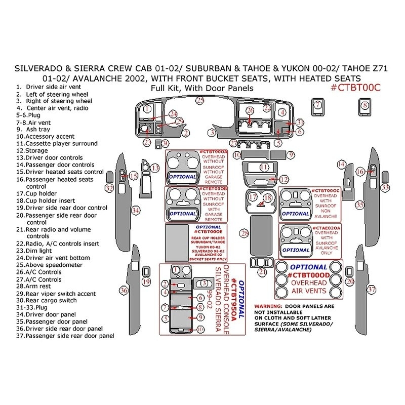 Remin® - Chevy Tahoe Overhead Console With Garage Door Opener in 2001 Chevy Tahoe Parts Diagram