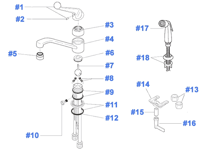 Repair Parts For Delta Kitchen Faucets throughout Delta Kitchen Faucet Parts Diagram
