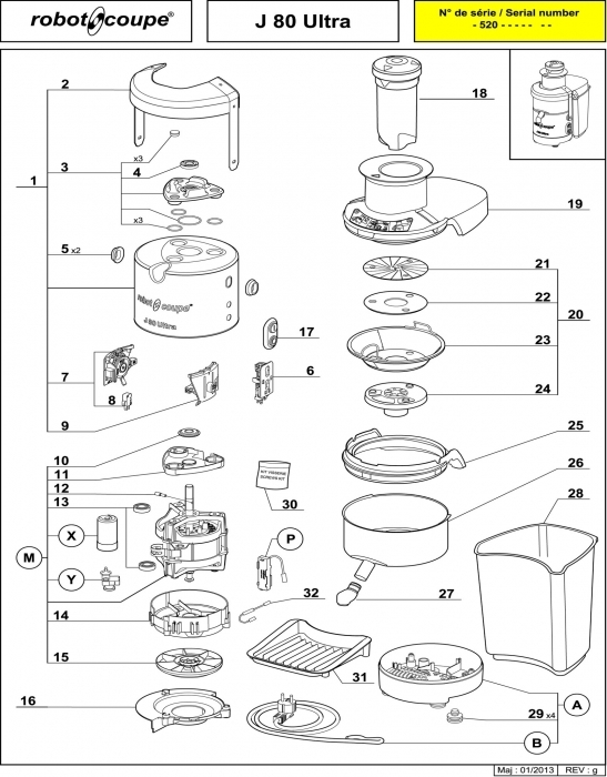 Robot Coupe J80 J100 Juicer Machines Spare Parts J80 J100 - Robot intended for Robot Coupe R2 Parts Diagram