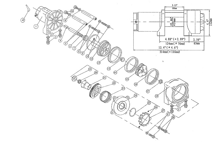 Runva 2.5P 2500 Lb Atv Winch Super Deluxe Package (With Synthetic with regard to Warn Winch 2500 Parts Diagram