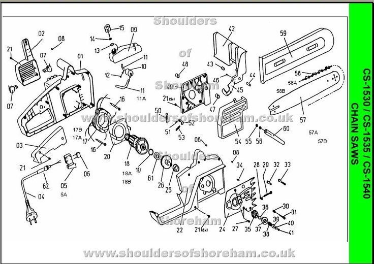 Ryobi Ecw 1836 Electric Chain Saw Spares Diagram | Ryobi Chainsaw within Stihl 028 Av Parts Diagram