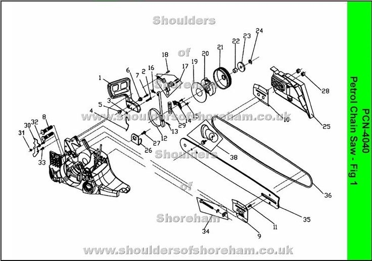 Ryobi Pcn 4040 Petrol Chain Saw Spares Diagrams | Ryobi Chainsaw within Stihl Ms290 Chainsaw Parts Diagram
