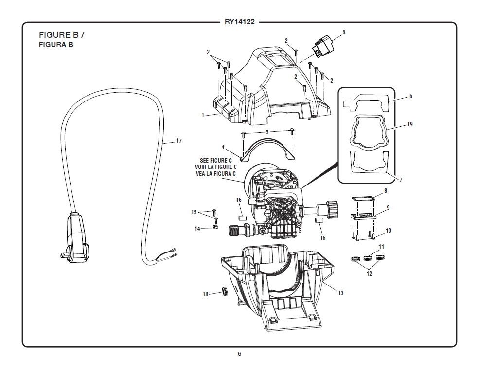 Ryobi Ry14122 Electric Pressure Washer inside Ryobi Pressure Washer Parts Diagram