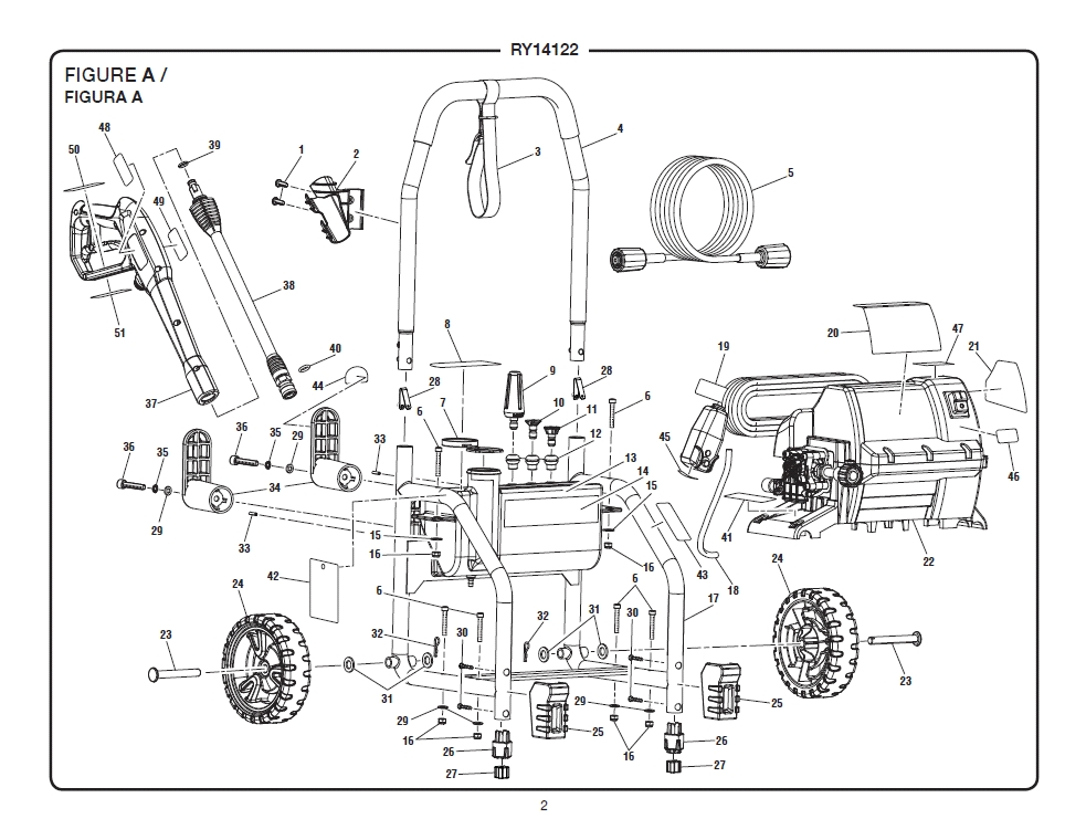 Ryobi Ry14122 Electric Pressure Washer throughout Ryobi Pressure Washer Parts Diagram