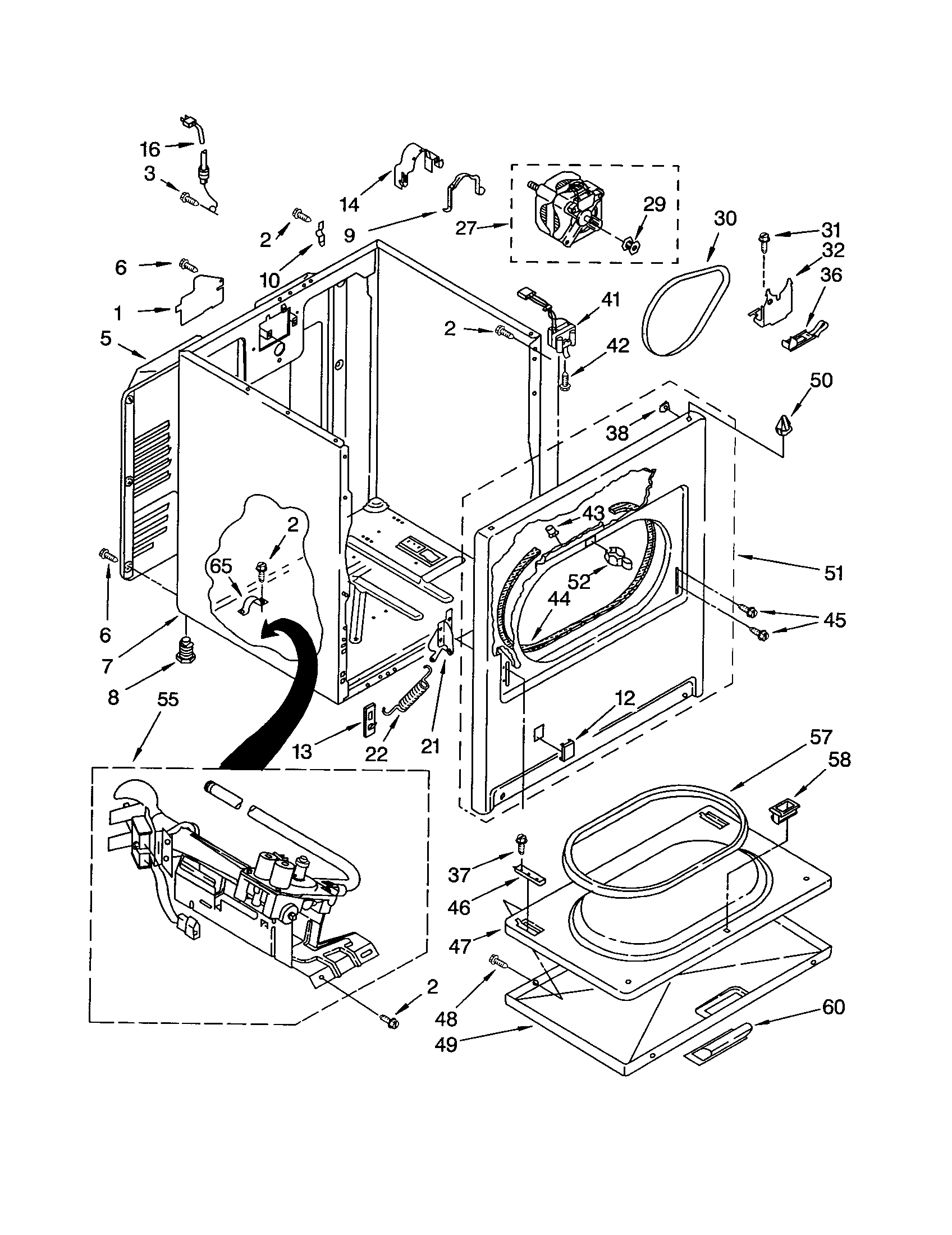 kenmore 90 series dryer parts diagram
