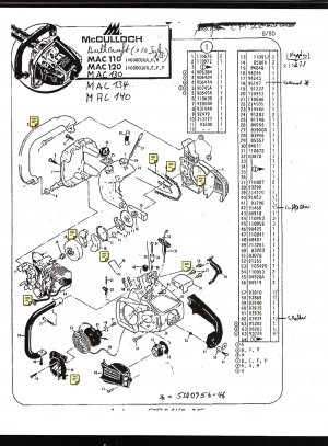 Saw Parts List Mc Culloch , Mac 110, 120, 130, 134, 140 with regard to Eager Beaver Chainsaw Parts Diagram
