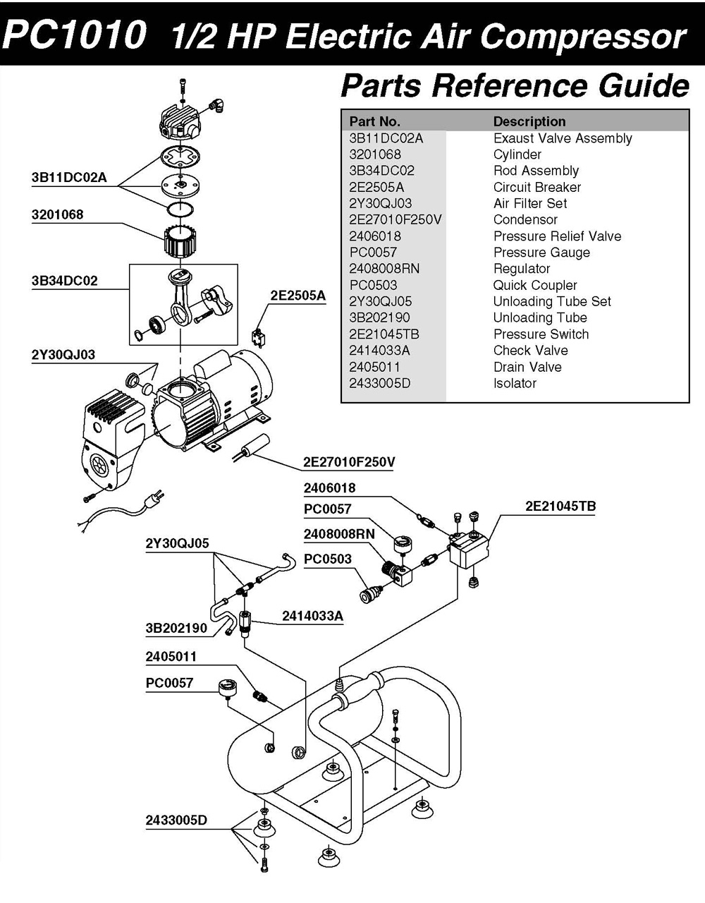 Senco Pc1010 Air Compressor Parts for Ingersoll Rand Air Compressor Parts Diagram