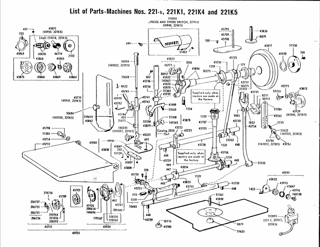Singer Original Vintage Products Parts in Singer Sewing Machine Parts Diagram