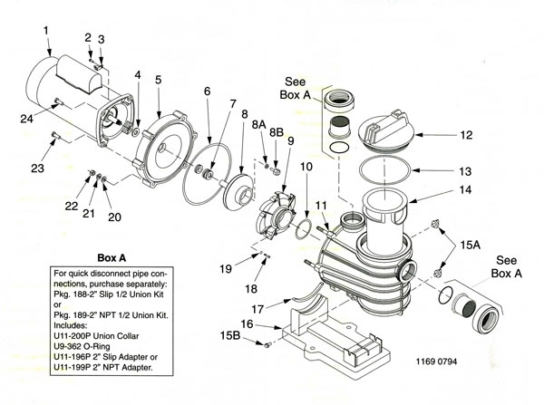 Sta-Rite Dyna-Glas, Pump Parts Diagram, Parts List regarding Sta Rite Pump Parts Diagram