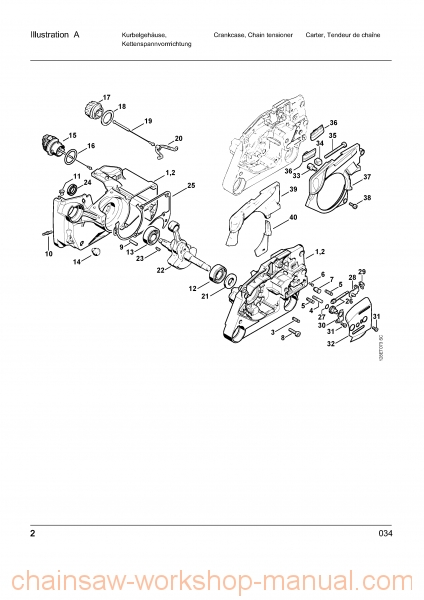 Stihl 034 Parts List Manual - Chainsaw Workshop Manuals intended for 034 Stihl Chainsaw Parts Diagram
