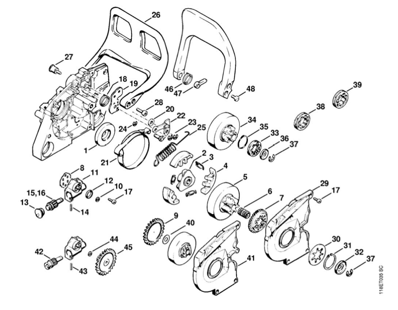 stihl 028 chainsaw parts diagram
