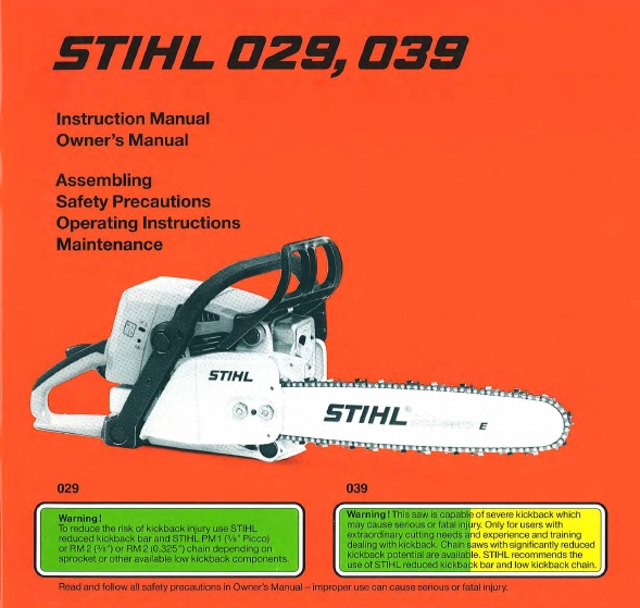 Stihl Chainsaws 29 Pdf Owner's Manual Free Download & Preview regarding Stihl 039 Chainsaw Parts Diagram