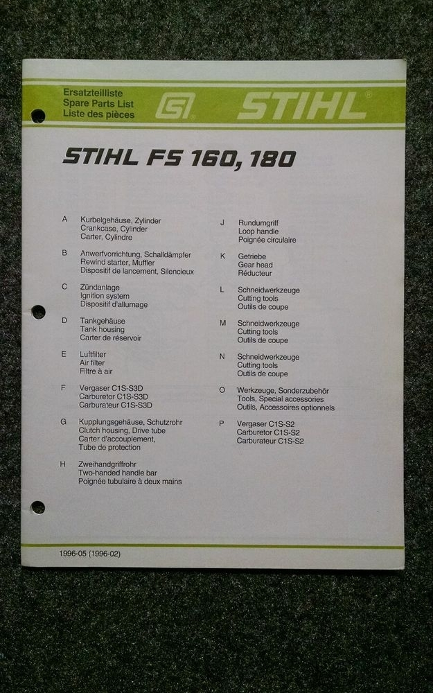 Stihl Fs 160, 180 Spare Parts List-Illustrated Parts Manual inside Stihl Fs 550 Parts Diagram