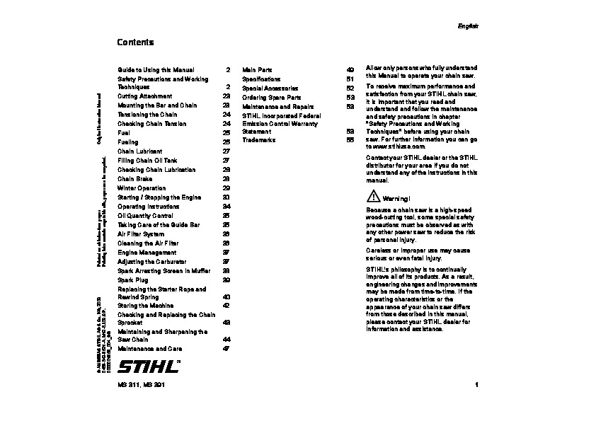 Stihl Ms 311 391 Chainsaw Owners Manual for Stihl Ms 391 Parts Diagram
