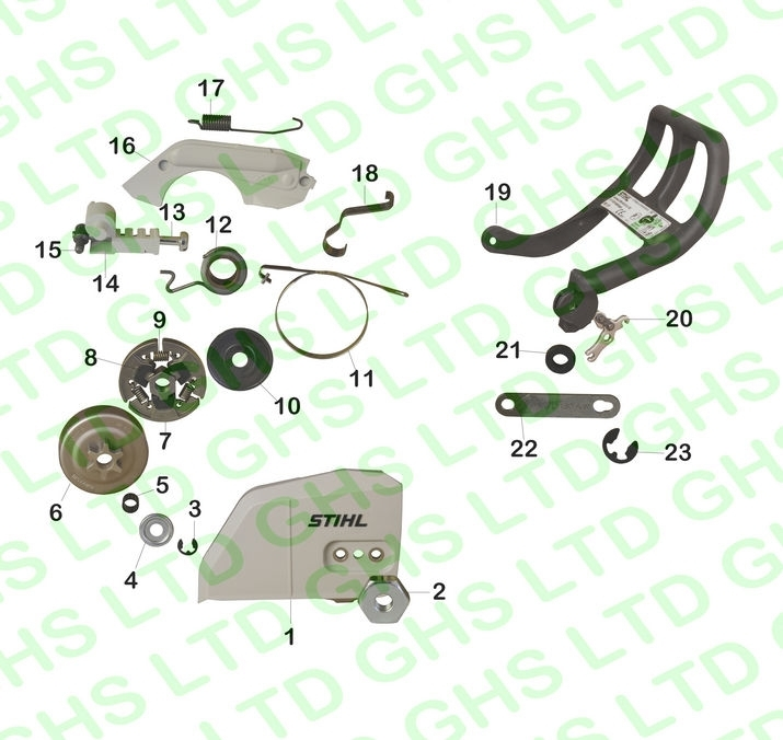 Stihl Ms180 Clutch & Chain Brake with regard to Stihl Ms250 Chainsaw Parts Diagram