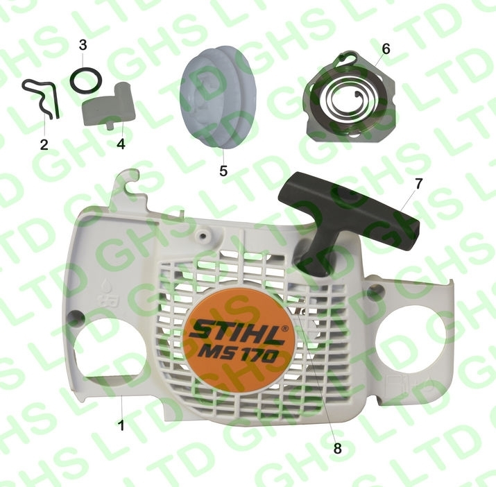 Stihl Ms180 Recoil Starter within Stihl 024 Chainsaw Parts Diagram