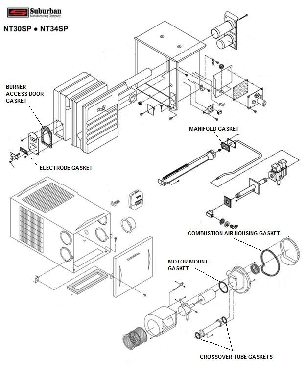 suburban furnace gasket kit for nt 30sp nt 34sp suburban furnace pertaining to suburban rv furnace parts diagram nt30 sp heater wiring diagram nt30 wiring diagrams collection  at bayanpartner.co