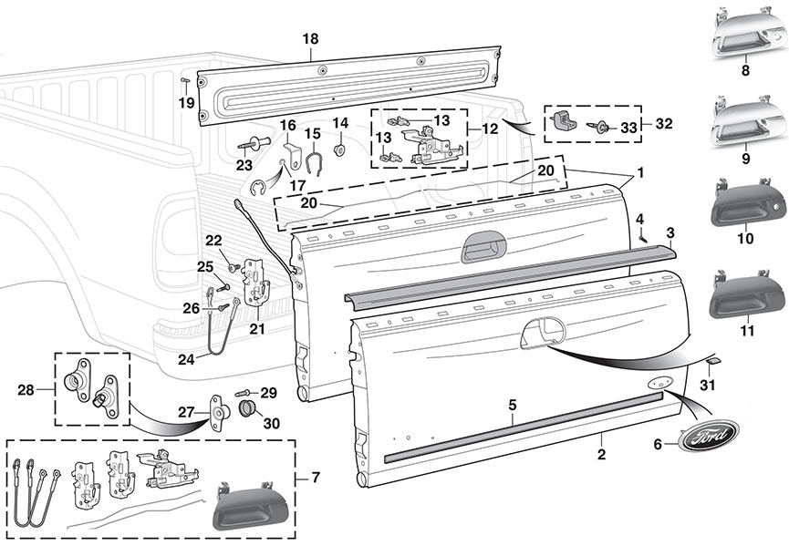 Tailgate And Parts | 1997-03 Ford F150 And 2004 Heritage1997-99 throughout 2004 Ford F150 Parts Diagram