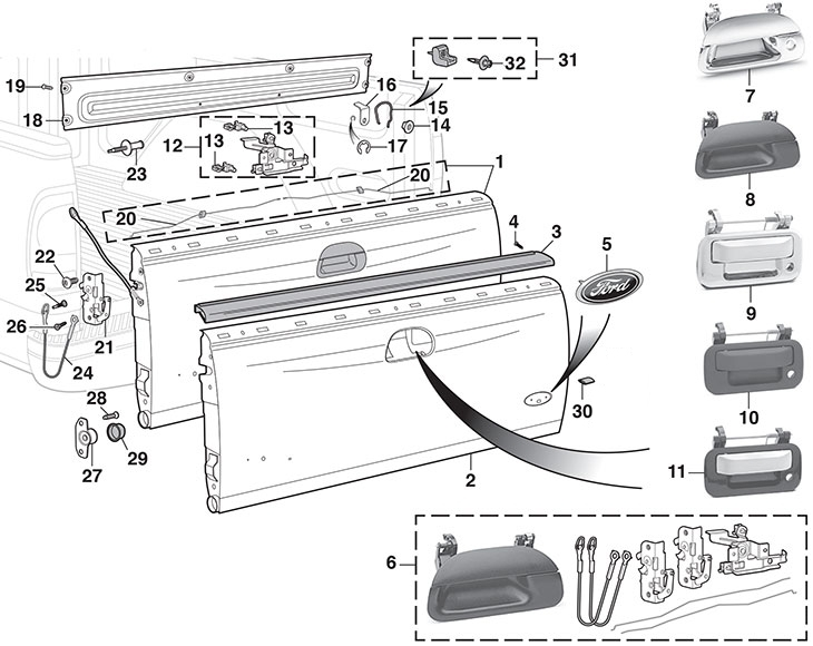 Tailgate And Parts | 1999-15 Ford F250 - F350 - F450 - F550 Super for 2000 Ford F150 Parts Diagram