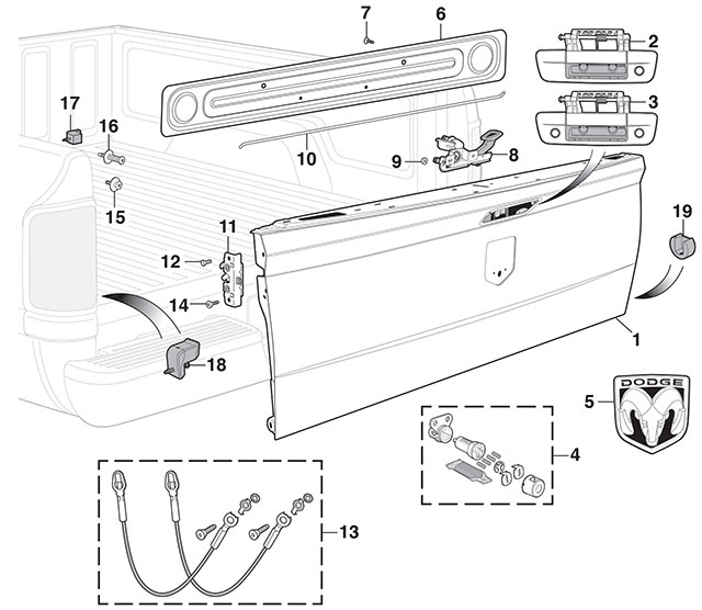 Tailgate And Parts | 2009-15 Ram 15002010-15 Ram 2500 & 3500 | Lmc for Dodge Ram 2500 Parts Diagram
