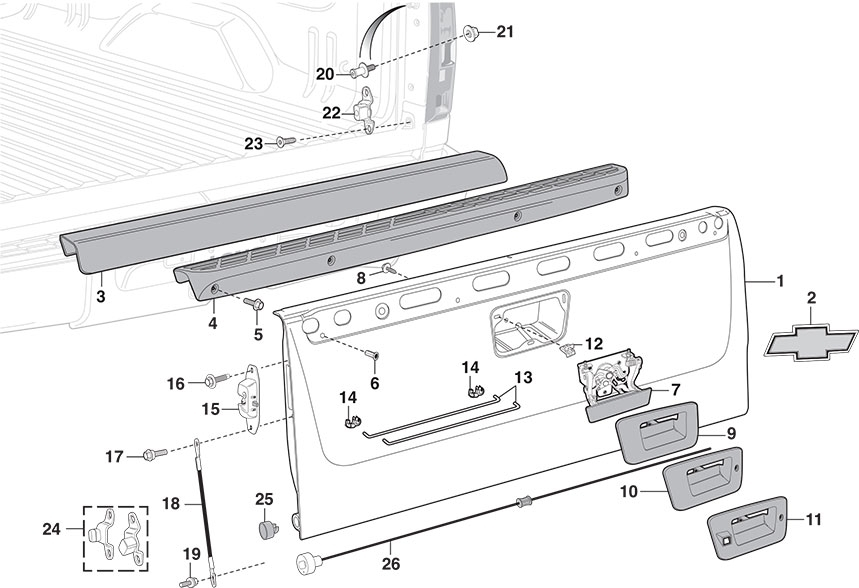 Tailgate & Components | 2007-13 Chevy Silverado 2007-13 Gmc Sierra throughout 2002 Chevy Silverado Parts Diagram