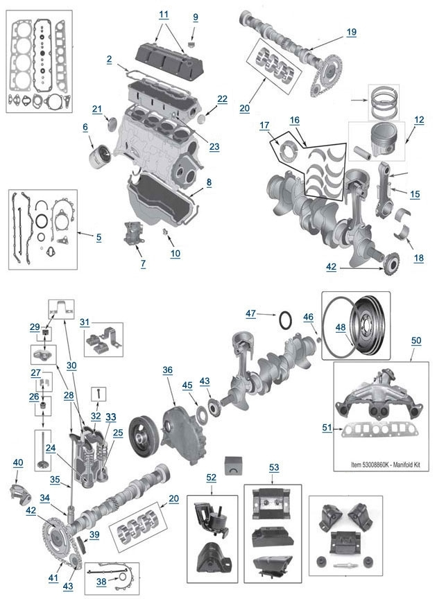 tj wrangler 2 5l 4 cylinder engine parts