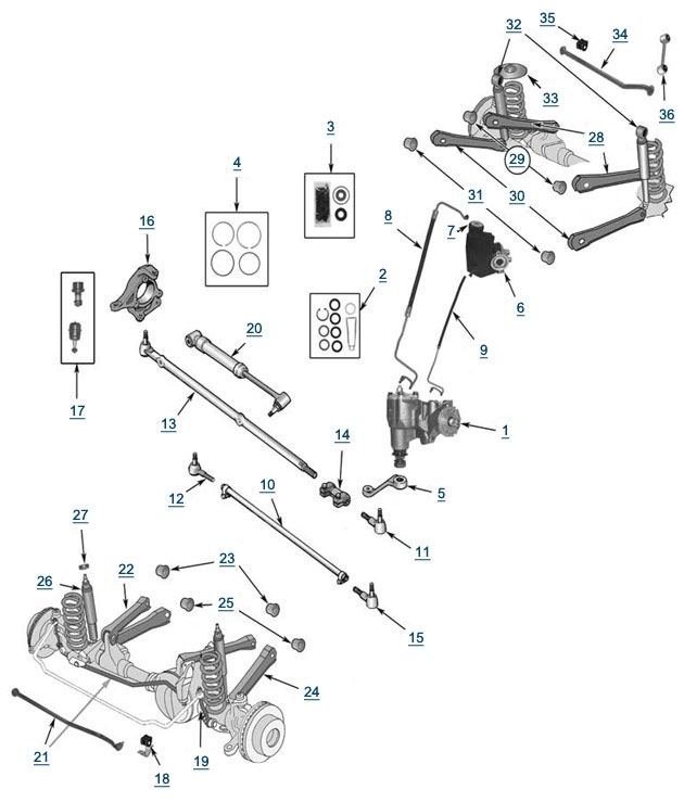 Tj Wrangler Suspension And Steering - 4 Wheel Parts within Jeep Front End Parts Diagram
