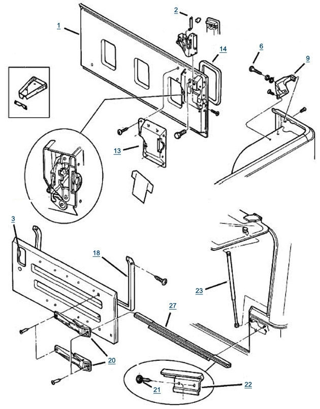 Tj Wrangler Tailgate Parts - 4 Wheel Parts inside 2000 Jeep Wrangler Parts Diagram