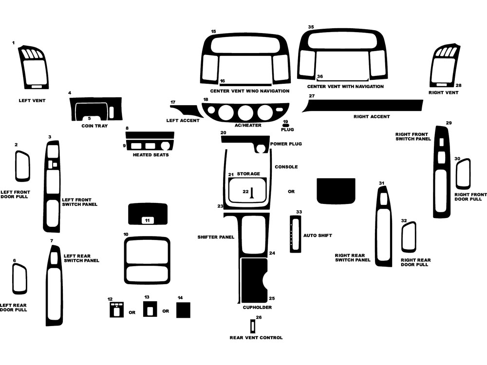 Toyota Camry 2002-2006 Dash Kits | Diy Dash Trim Kit within Toyota Camry Interior Parts Diagram