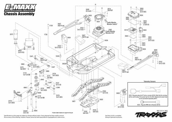 Traxxas Emaxx Parts Diagram Brushless | 3908 Chassis Exploded intended for T Maxx 3.3 Parts Diagram