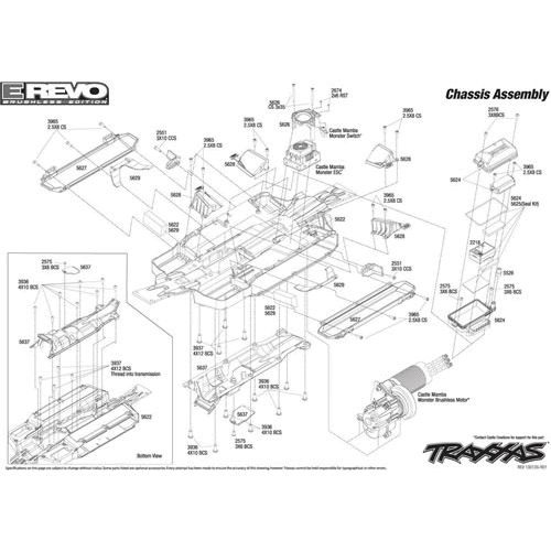 Traxxas Emaxx Parts Diagram Brushless | Traxxas 1:10 Scale E-Revo with T Maxx 3.3 Parts Diagram