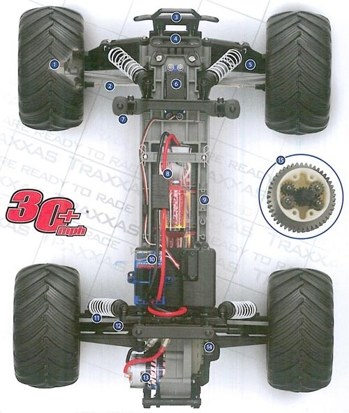 Traxxas Monster Jam Advance Auto Parts Grinder 1/10 Scale 2Wd for Traxxas Grave Digger Parts Diagram