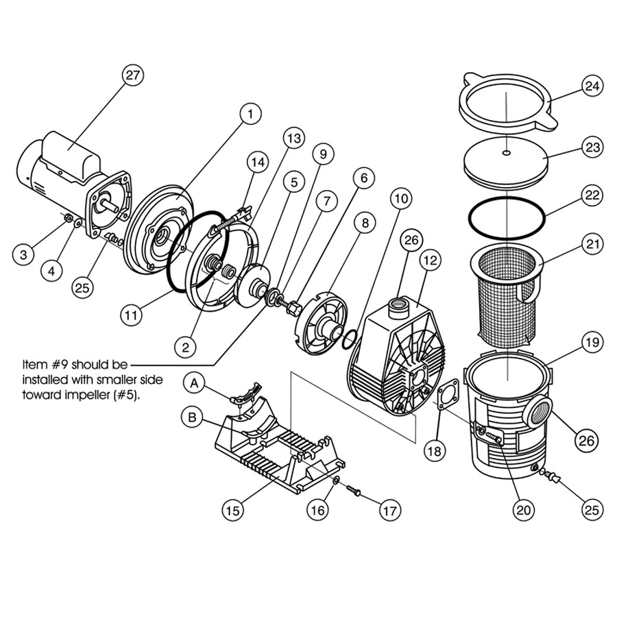 Ultra-Flow Pump - Pump Parts - Gps Pool Supplies in Hayward Super Pump 2 Parts Diagram