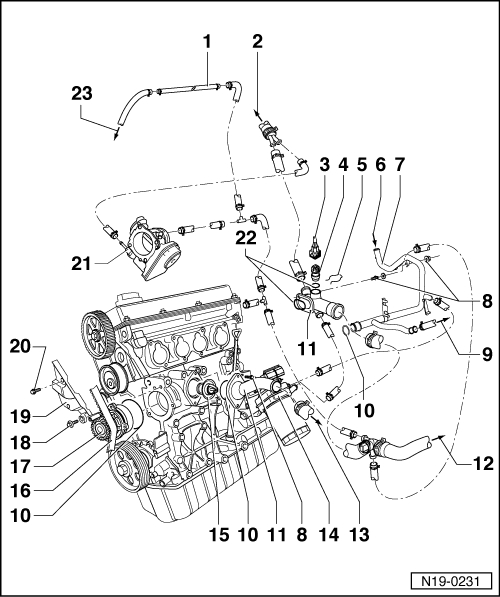 Volkswagen Workshop Manuals > Golf Mk4 > Engine > 4-Cyl. Injection regarding Vw Golf Mk4 Parts Diagram