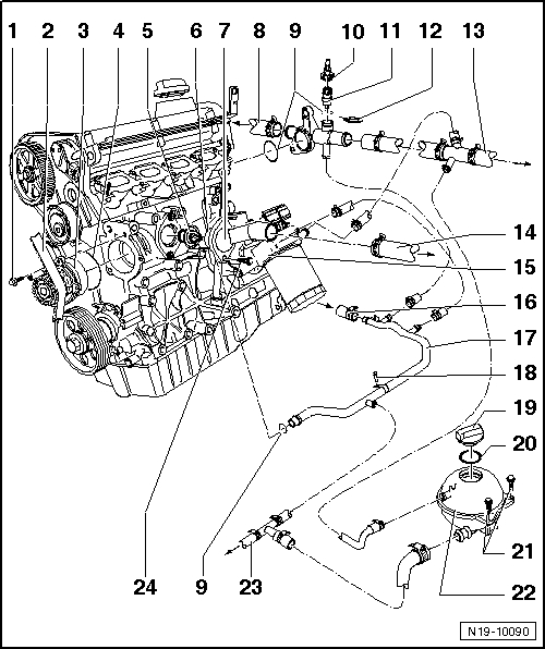 Volkswagen Workshop Manuals > Golf Mk4 > Power Unit > 4-Cylinder throughout Vw Golf Mk4 Parts Diagram