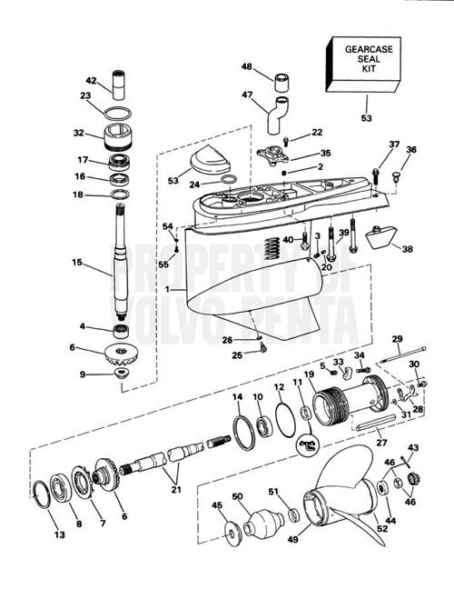 Volvo Penta Exploded View / Schematic Lower Gear Unit Sx-S, Sx-St intended for Volvo Penta Marine Parts Diagram