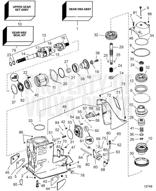 volvo penta exploded view    schematic upper gear unit sx
