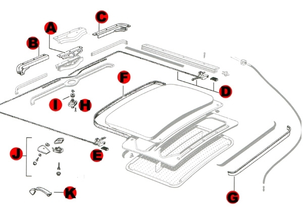 Vw Bug Sunroof Components 1968-1977: Vw Parts | Jbugs throughout Vw New Beetle Parts Diagram
