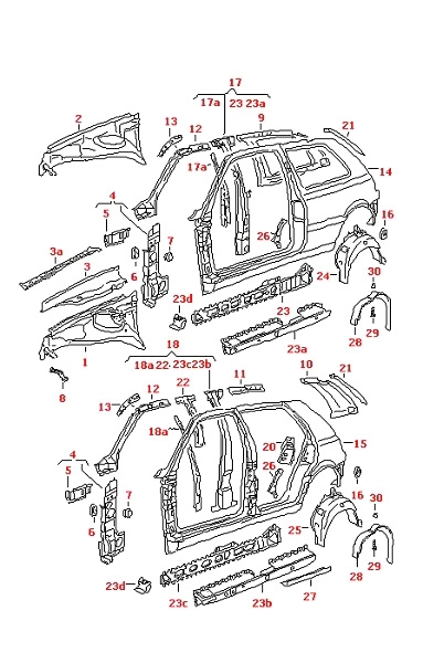 Vw Golf Mk4 1998-2006 1J Chassis Right O/s Side Panel 4 Door Sedan pertaining to Vw Golf Mk4 Parts Diagram