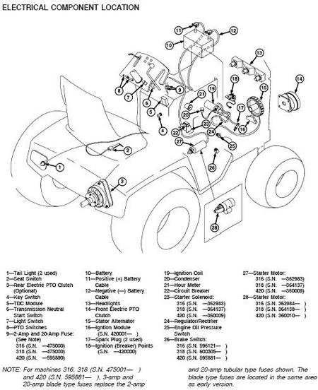 Wiring Diagram For A 11 Hp Model 111 John Deere Lawn Mower in John Deere 212 Parts Diagram