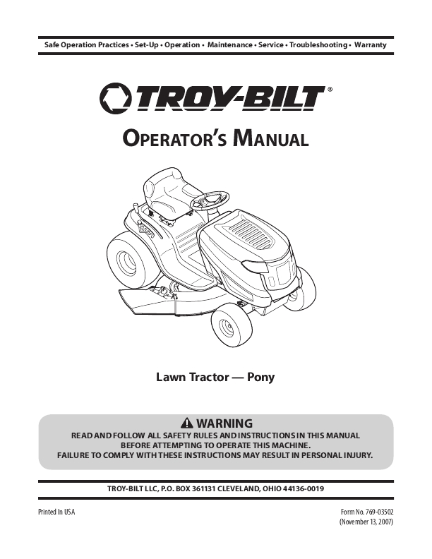 Troy Bilt Bronco Parts Diagram
