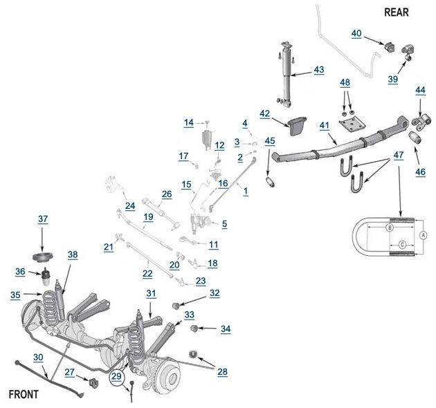 Xj Cherokee Replacement Suspension - 4 Wheel Parts in Front End Suspension Parts Diagram