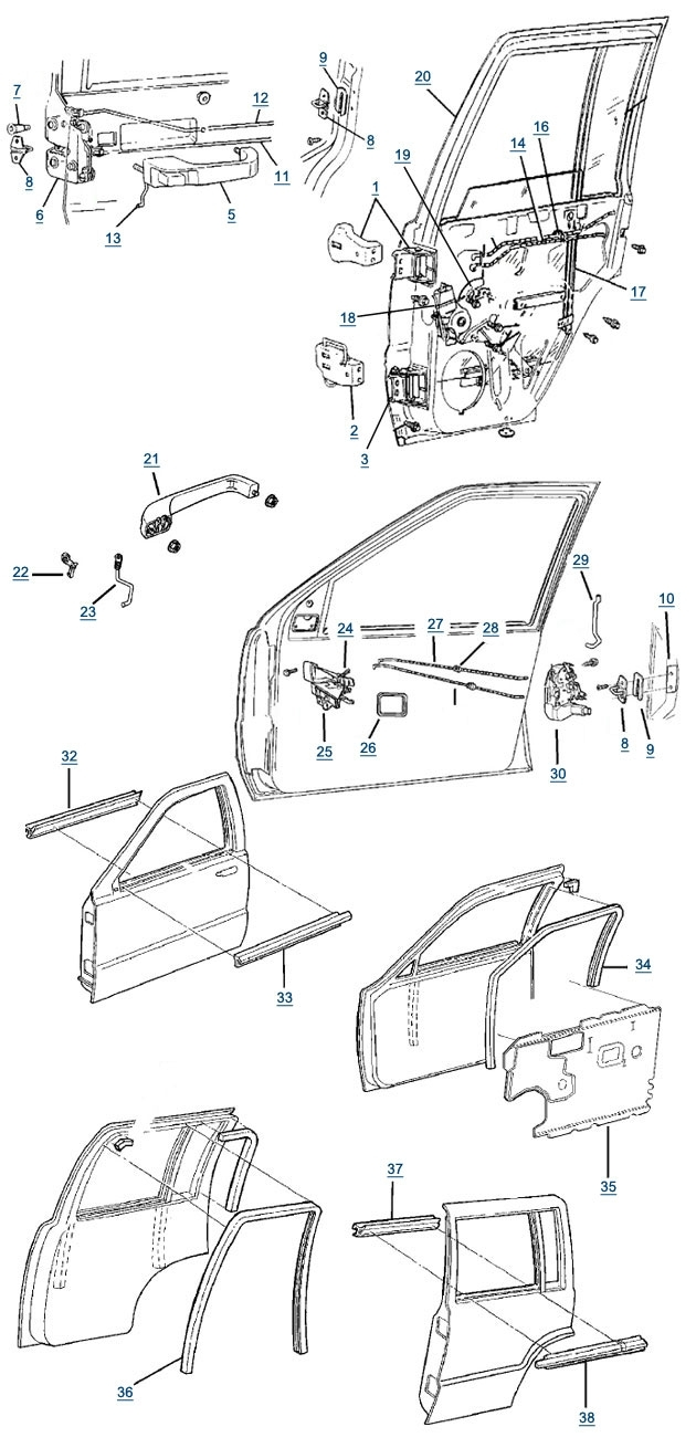 Zj Grand Cherokee Door Parts - 4 Wheel Parts in 2005 Jeep Grand Cherokee Parts Diagram