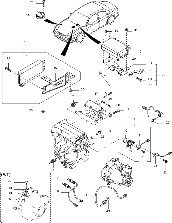 0K01118131 - Genuine Kia Sensor-Phase for 2000 Kia Sephia Engine Diagram