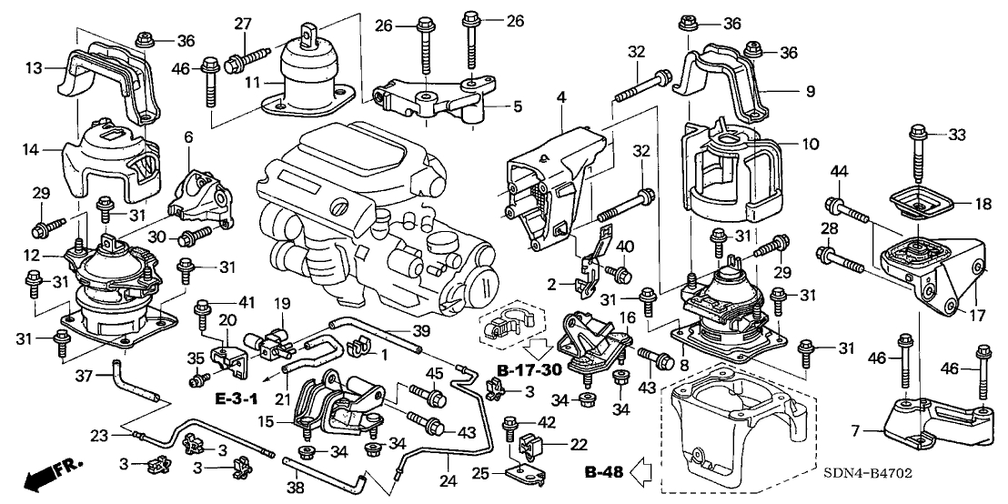 10750 - Cm/ua Mount Kit for 2003 Honda Accord Engine Diagram