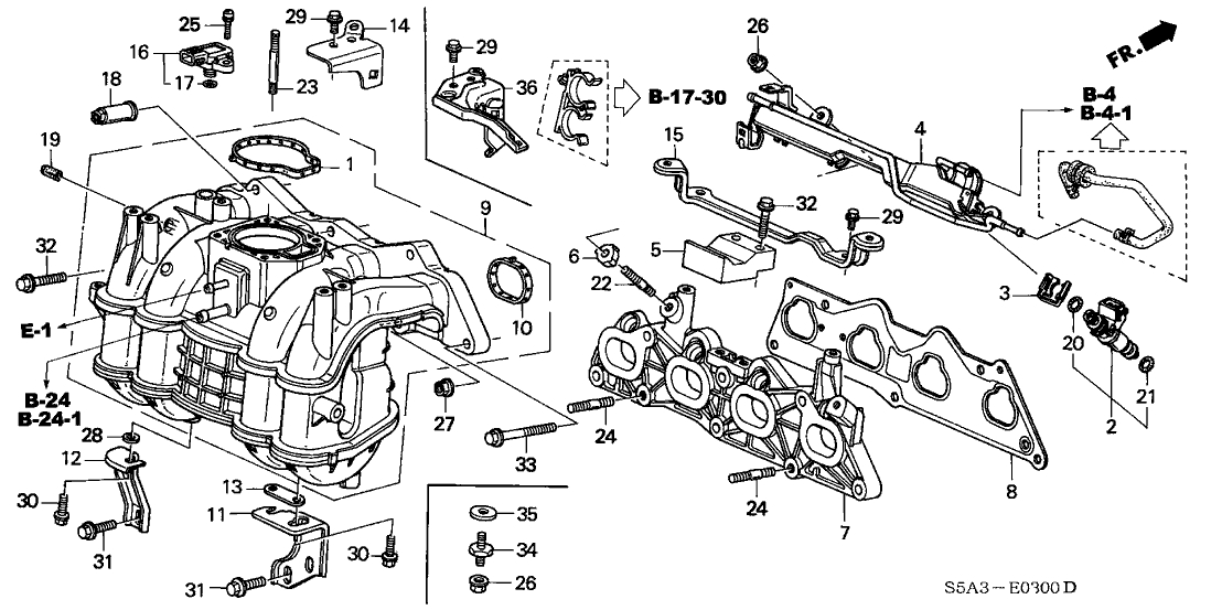 16450-Pld-003 - Genuine Honda Injector Assy., Fuel (Keihin) in 2002 Honda Civic Engine Diagram