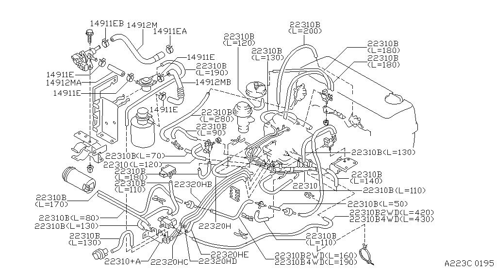 1997    Nissan       Pickup       Engine       Diagram      Automotive Parts    Diagram    Images