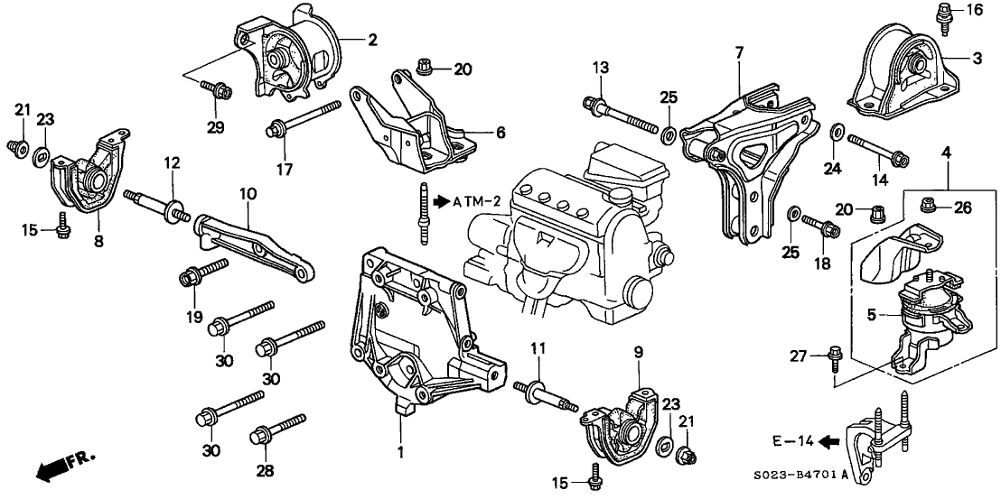 1998 Honda Civic 2 Door Ex Ka 4At Engine Mount - Hondapartsnow regarding Honda Civic 1998 Engine Diagram