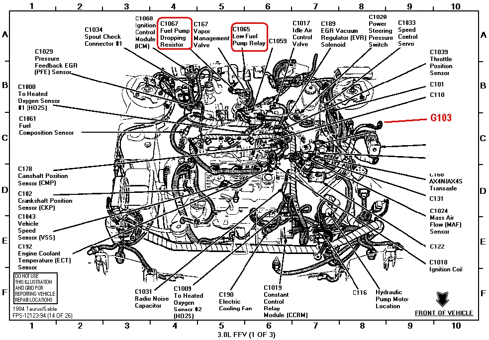 2001    Ford    Taurus Engine    Diagram      Automotive    Parts       Diagram