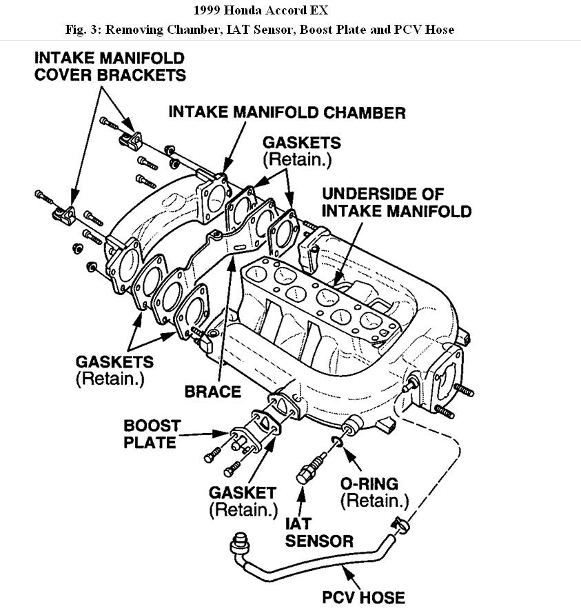 1999 Honda Accord Upper Intake Manifold Diagram: Engine for 1999 Honda Accord V6 Engine Diagram